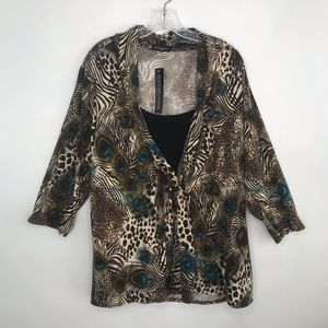 Notations Plus Blouse 3X Peacock Mock Layer New